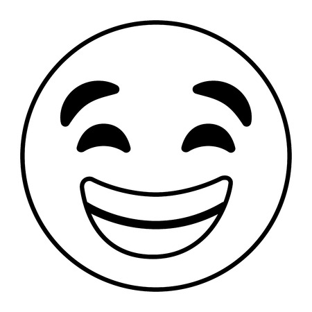 emoticon cartoon face with smiling happy vector illustration outline image
