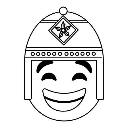 emoticon cartoon face with exotic hat vector illustration outline image