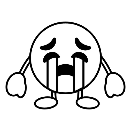 emoticon cartoon face crying character vector illustration outline image Stock Illustratie