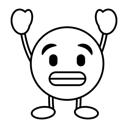 emoticon cartoon face toothy smile character vector illustration outline image  イラスト・ベクター素材