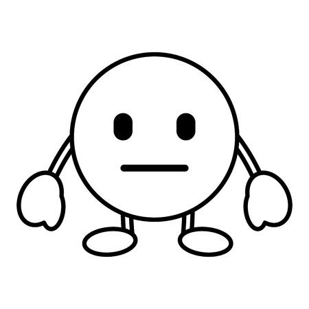 顔文字漫画顔言葉のない文字ベクトルイラストアウトライン画像  イラスト・ベクター素材