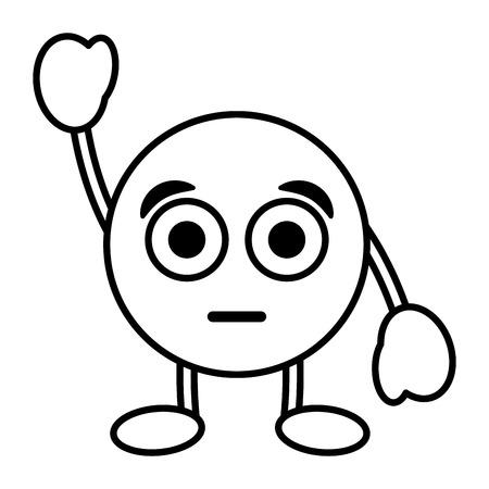 emoticon cartoon face astonished character vector illustration outline image Ilustração