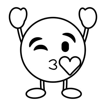 キス愛キャラクターベクトルイラストのアウトライン画像を吹く絵文字漫画の顔