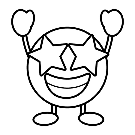 emoticon cartoon face happy star eyes character vector illustration outline image