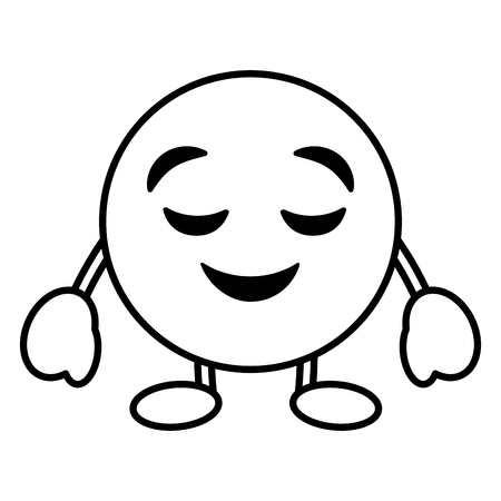 emoticon cartoon face grinning closed eyes character vector illustration outline image Archivio Fotografico - 96277980