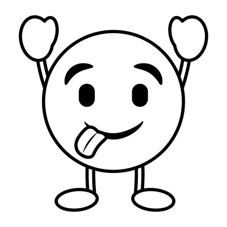 emoticon cartoon face tongue out character vector illustration outline image