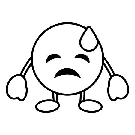 顔文字漫画顔うつ病の涙文字ベクトルイラストアウトライン画像