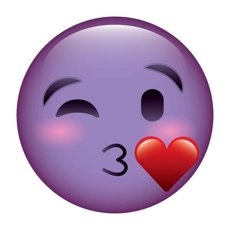 purple emoticon cartoon face blowing a kiss vector illustration