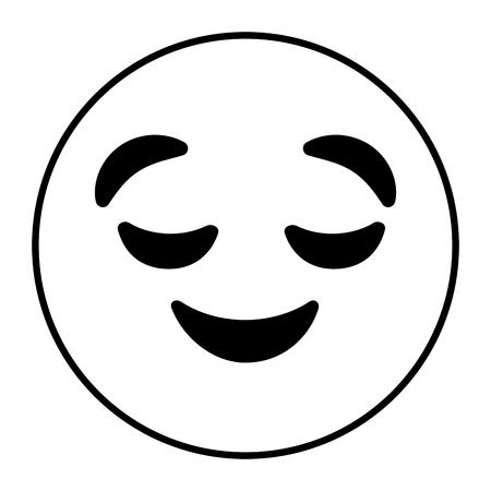Emoticon Cartoon Gesicht gesichtslosen geschlossenen Augen Vektor-Illustration Umrisszeichnung Standard-Bild - 96278420