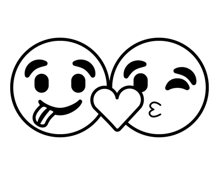 emoticons faces tongue out and kiss vector illustration outline image