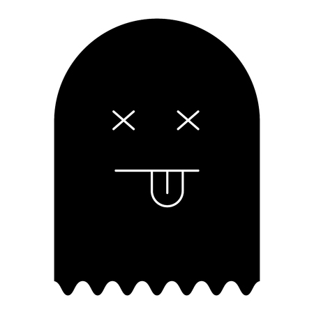 ghost alert character icon vector illustration design