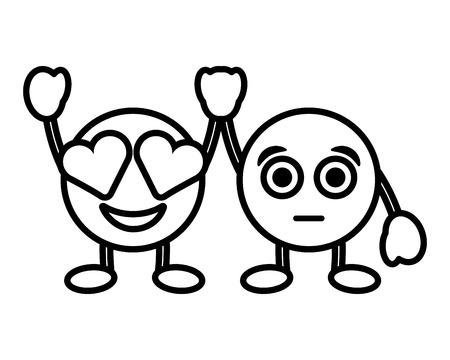 cute smile emoticons in love and surprised character vector illustration outline image Illustration
