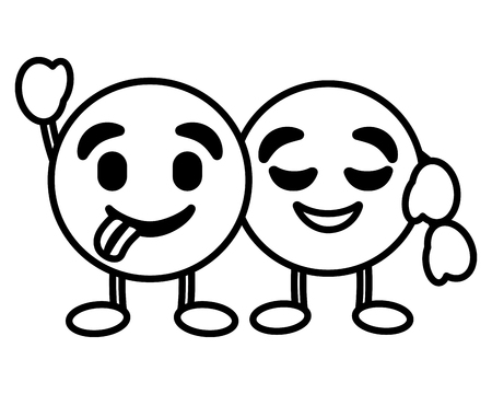 幸せな舌を抱きしめるかわいい絵文字ベクトルイラストアウトライン画像  イラスト・ベクター素材