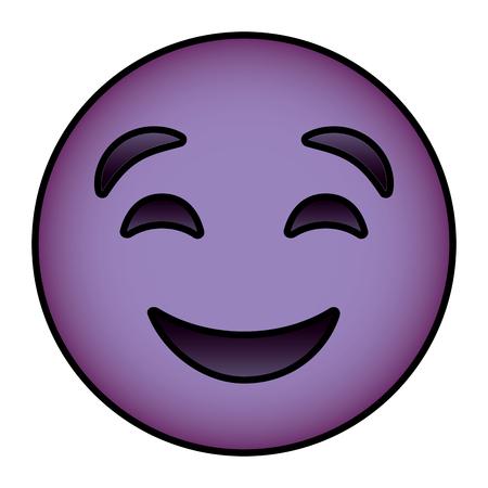 cute purple smile emoticon happy close eyes vector illustration 向量圖像