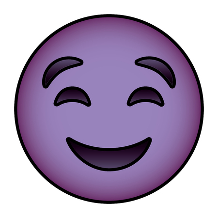 cute purple smile emoticon happy close eyes vector illustration Illustration