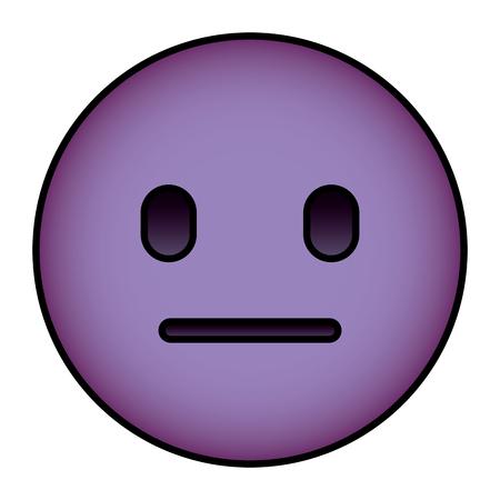 purple emoticon cartoon face speechless vector illustration
