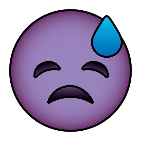 Purple emoticon cartoon face depressive tear vector illustration.