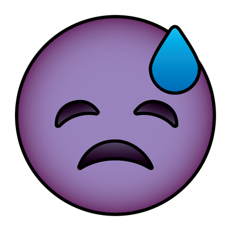 Purple emoticon cartoon face depressive tear vector illustration.