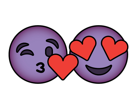 Purple faces in love heart eyes and kiss vector illustration.