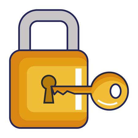 safe secure padlock with key vector illustration design Archivio Fotografico - 96359323