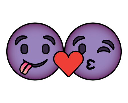 Purple emoticons faces tongue out and kiss vector illustration