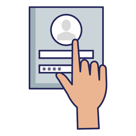 hand user with login interface access icon vector illustration design