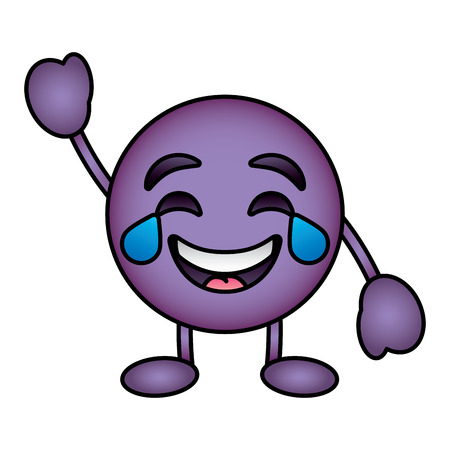 Purple emoticon cartoon face smiling with tears character vector illustration. Illustration