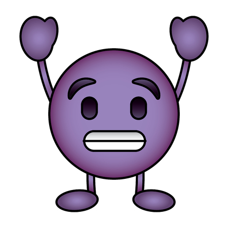 Purple emoticon cartoon face toothy smile character vector illustration.
