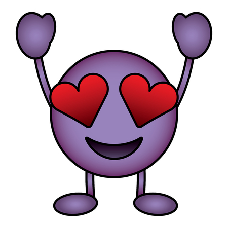 Purple emoticon cartoon face in love character vector illustration. Illustration