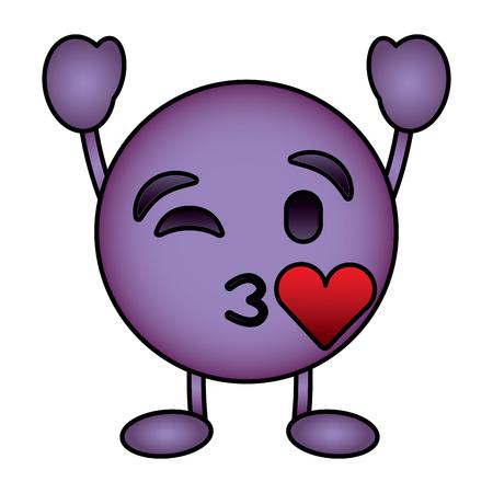 Purple emoticon cartoon face blowing a kiss love character vector illustration. Illustration