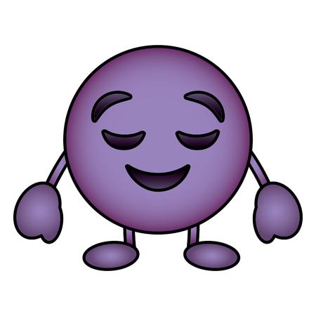 Purple emoticon cartoon face grinning closed eyes character vector illustration. Archivio Fotografico - 96284670