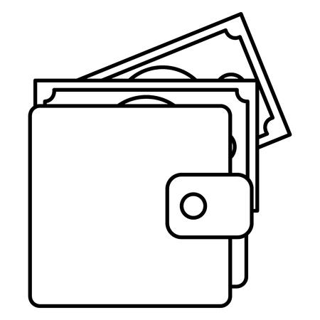 wallet with bills dollars vector illustration design Banco de Imagens - 96366268