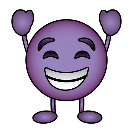 Purple emoticon cartoon face smiling happy character vector illustration. Ilustrace