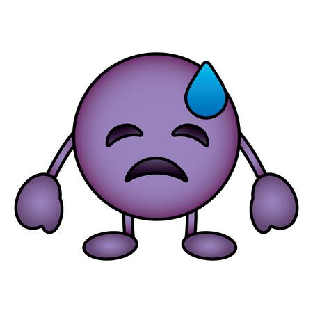 Purple emoticon cartoon face depressive tear character vector illustration. Illustration