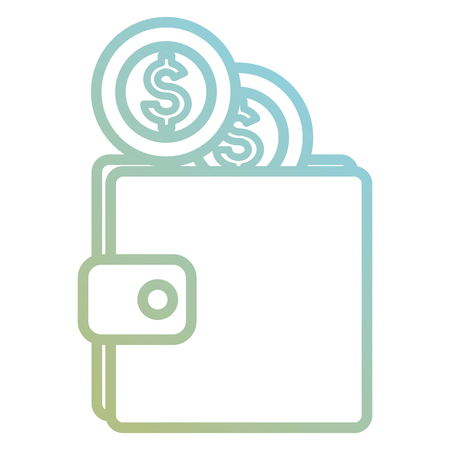 wallet with coin money isolated icon vector illustration design  イラスト・ベクター素材