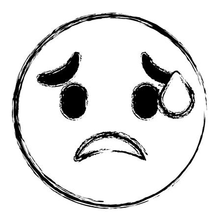 Cute smile emoticon worried expression vector illustration sketch image.