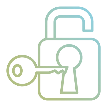 safe secure padlock with key vector illustration design
