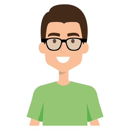 young man model with glasses avatar character vector illustration design Illustration