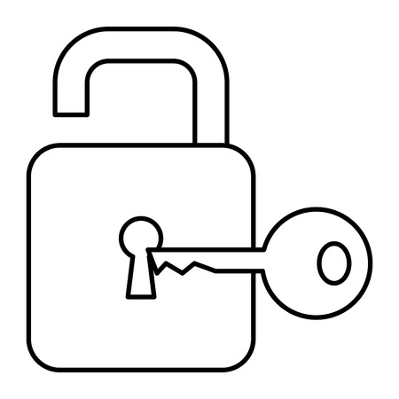 safe secure padlock with key vector illustration design Archivio Fotografico - 96303940