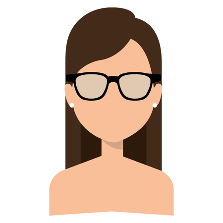 Faceless and shirtless woman with glasses