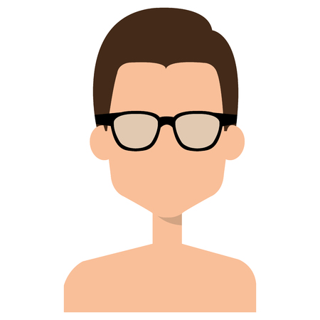 Faceless and shirtless man with glasses