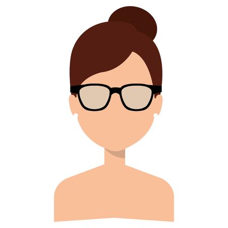 眼鏡をかけた顔のないシャツのない女性