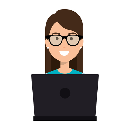 Woman working in a laptop illustration  イラスト・ベクター素材