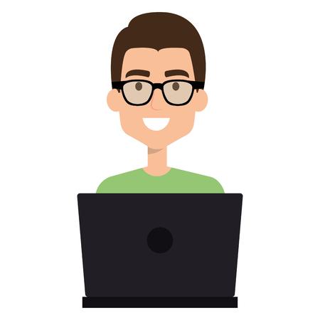 Uomo che lavora in un'illustrazione del computer portatile Archivio Fotografico - 96295264