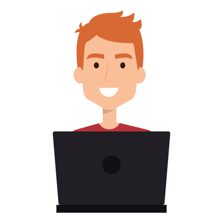 Man working in a laptop illustration