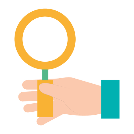 Hand with magnifying glass illustration