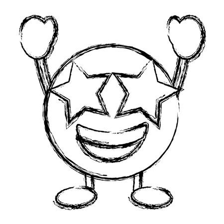 Emoticon cartoon face happy star eyes character vector illustration sketch image