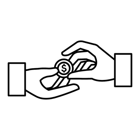 Hand with coin money illustration