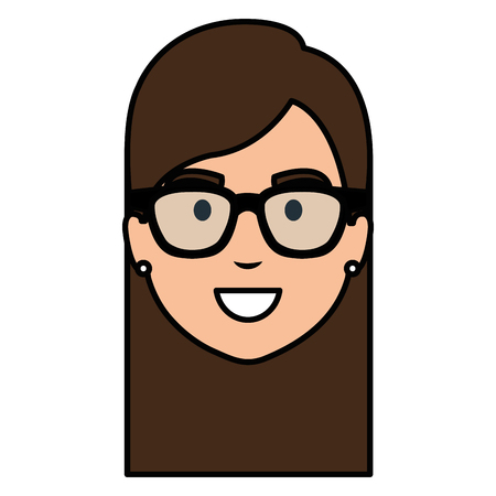 beautiful woman head with glasses avatar character vector illustration design