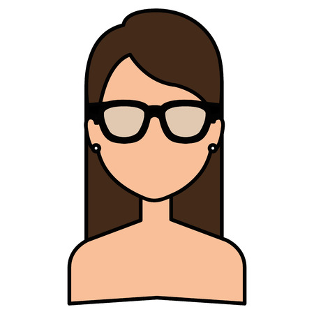 beautiful and young woman shirtless with glasses character vector illustration design Ilustração